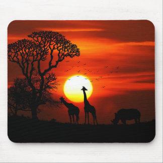 Mousepad Silhuetas africanas do animal do por do sol do