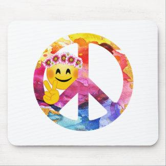 Mousepad Sinal de paz, arte da aguarela do Emoticon do