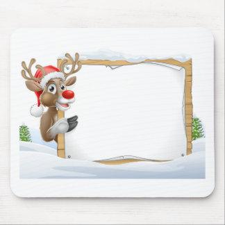 Mousepad Sinal do Natal da rena do chapéu do papai noel
