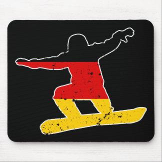 Mousepad SNOWBOARDER alemão da bandeira (branco)