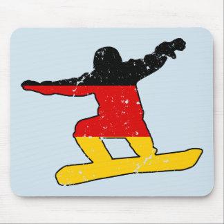 Mousepad SNOWBOARDER alemão da bandeira (preto)