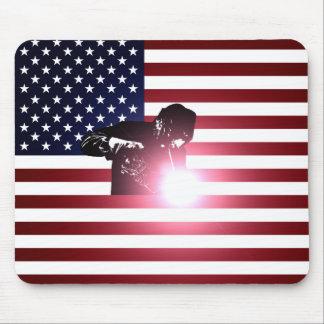 Mousepad Soldador e bandeira americana