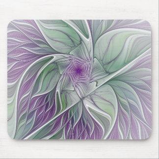 Mousepad Sonho da flor, arte verde roxa abstrata do Fractal