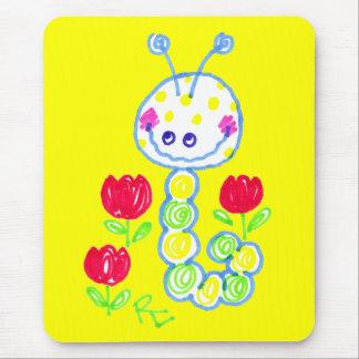 Mousepad Sorrindo o fundo amarelo feliz de Caterpillar
