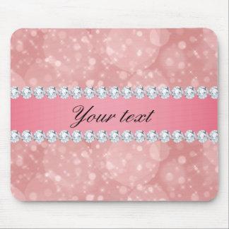 Mousepad Sparkles cor-de-rosa e diamantes de Bokeh