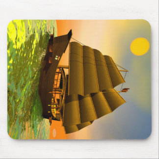 Mousepad Sucata oriental pelo por do sol - 3D rendem