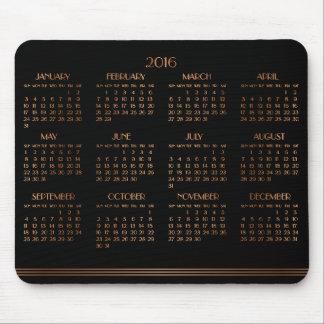 Mousepad Tapete do rato 2016 preto de bronze do calendário