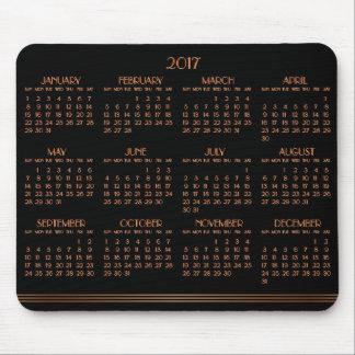 Mousepad Tapete do rato 2017 preto de bronze do calendário