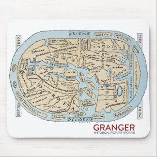 Mousepad Tapete do rato antigo do mapa do mundo