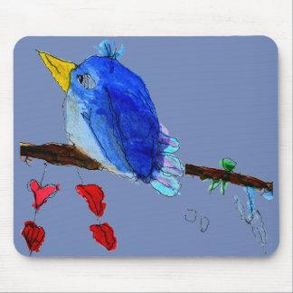 Mousepad Tapete do rato azul do pássaro - fundo azul