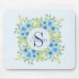 Mousepad Tapete do rato azul elegante do monograma da flor