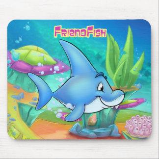 Mousepad Tapete do rato bonito do tubarão dos desenhos