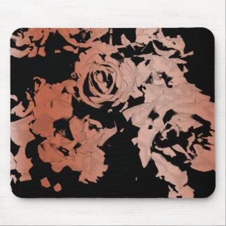Mousepad Tapete do rato cor-de-rosa floral do ouro