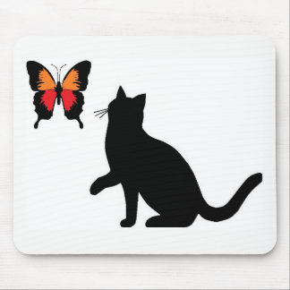 Mousepad Tapete do rato do gato preto e da borboleta