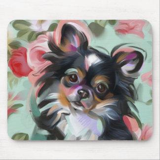 Mousepad Tapete do rato floral da arte do cão da chihuahua