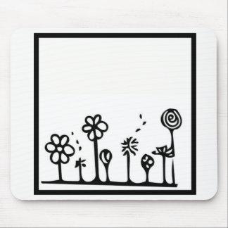 Mousepad Tapete do rato preto e branco da flor