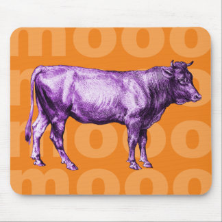 Mousepad Tapete do rato roxo do MOO da vaca do vintage