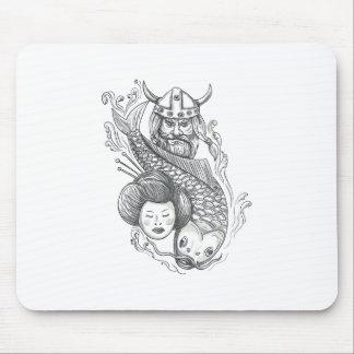 Mousepad Tatuagem da cabeça da gueixa da carpa de Viking