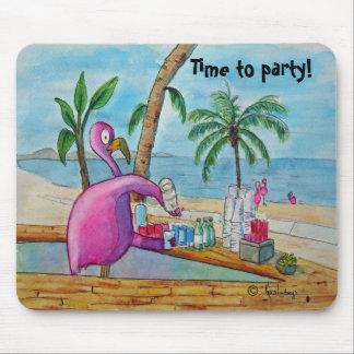 Mousepad Tempo cor-de-rosa do flamingo Party a aguarela de