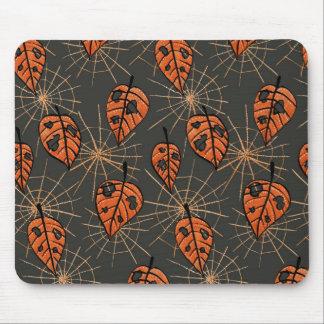 Mousepad Teste padrão alaranjado de Spiderwebs o Dia das