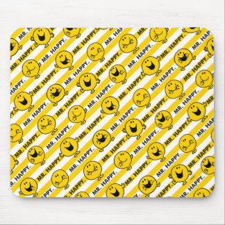 Mousepad Teste padrão amarelo das listras do Sr. Feliz |