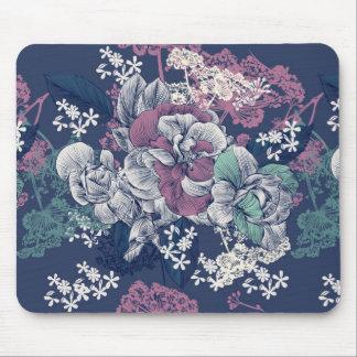 Mousepad Teste padrão artística do esboço floral roxo azul