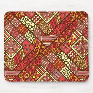 Mousepad Teste padrão asteca tribal abstrato do vermelho