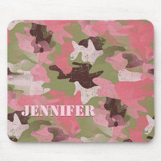 Mousepad Teste padrão cor-de-rosa verde militar feito sob