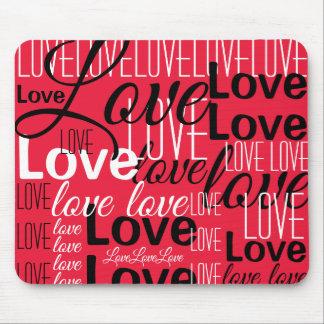 Mousepad Teste padrão da arte da palavra do amor