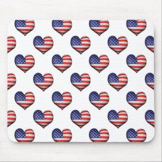 Mousepad Teste padrão dado forma coração da bandeira do