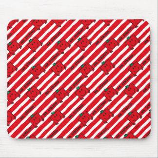 Mousepad Teste padrão das listras do vermelho do Sr. Forte