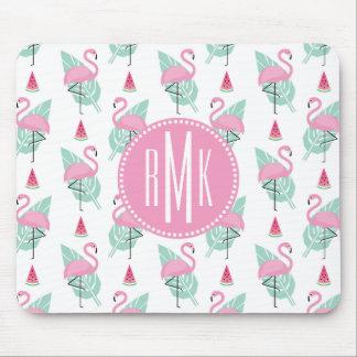 Mousepad Teste padrão do Pastel do flamingo & da melancia