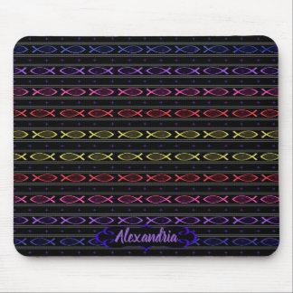 Mousepad teste padrão dos peixes de Jesus da multi-cor