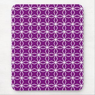 Mousepad Teste padrão geométrico branco e roxo