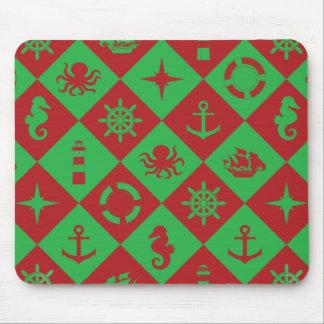 Mousepad Teste padrão náutico do Natal