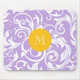 Mousepad Teste padrão roxo do papel de parede floral do