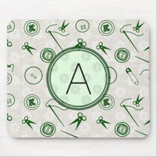 Mousepad Teste padrão Sewing verde de prata com monograma