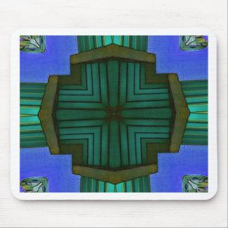 Mousepad Teste padrão simétrico linear legal do verde azul