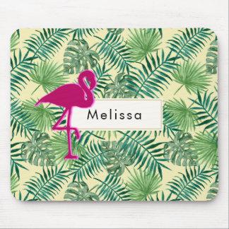 Mousepad Teste padrão tropical das folhas e costume