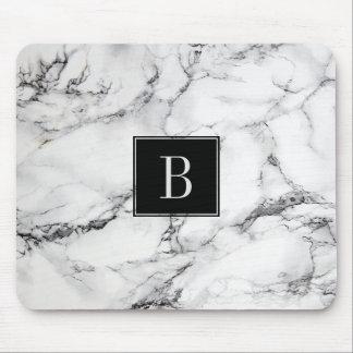 Mousepad Textura de mármore moderna Monogrammed das cinzas