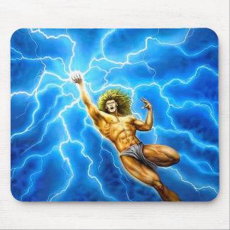 Mousepad Thor azul de Zeus do relâmpago da mitologia do