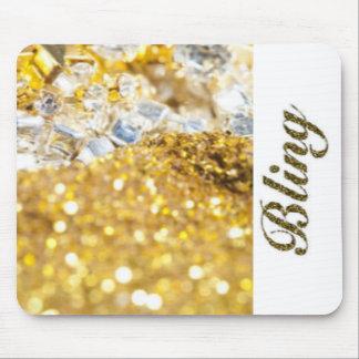 Mousepad Tipografia branca de Bling dos diamantes do ouro