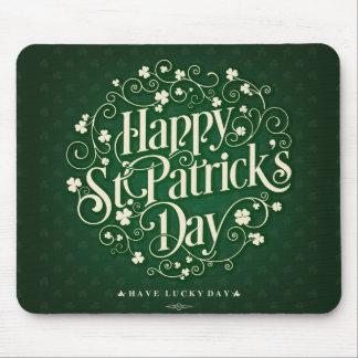 Mousepad Tipografia feliz verde do ornamento do dia de