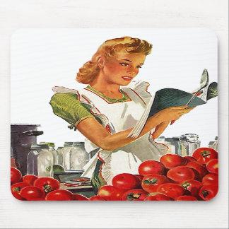 Mousepad Tomates de colocação em latas Home do meio século
