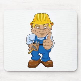 Mousepad Trabalhador com capacete de segurança