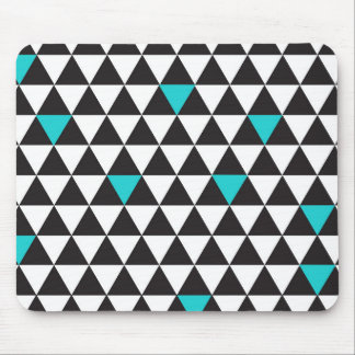 Mousepad Triângulos geométricos de turquesa branca preta da