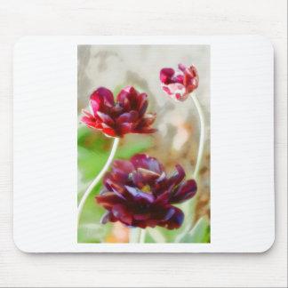 Mousepad Trio de florescência da tulipa da peônia escura do