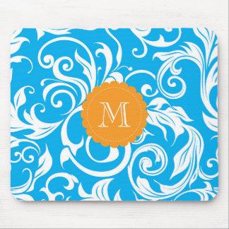 Mousepad Turquesa azul bonito do papel de parede floral do