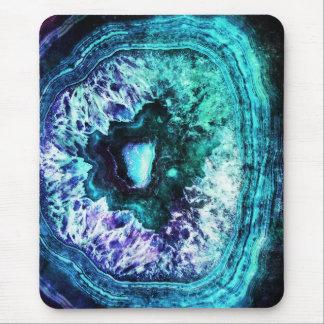 Mousepad Turquesa gelada bonito e cristal roxo de Geode