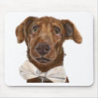 Mousepad Um cão com um laço